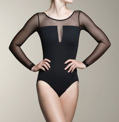A classy Nadia leotard with mesh that wraps around the sides and back. This elegant beauty makes a lovely statement piece.