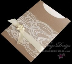 Sleeve Pocket Wedding Invitations with lace and pearl crystal bling by www.tangodesign.com.au #laceweddinginvitations #rusticlaceinvitations #elegantweddinginvitations