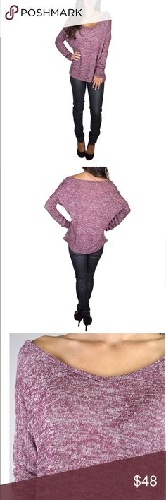 ✨HP✨Burgundy V Neck Sweater V Neck sweater. Can be worn off the shoulder as shown in picture. Rayon-polyester-spandex blend. Sweaters V-Necks