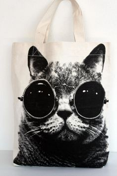 cat tote., bag, black and white photograph, photo, canvas bag, white, printed, cool, steampunk, glasses, wall, stylish, original, would love to have this handbag,fashion, steampunk, punk, hipster