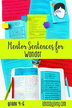 Using mentor sentences from your favorite read-aloud books, like Wonder, is a great way to teach grammar and author's craft! This resource includes lesson plans for including mentor sentences in your 4th, fifth, and 6th grade classrooms for 5 weeks. Click the pin to see the activities included!