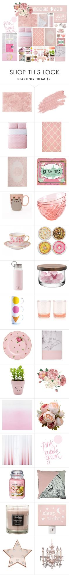 """""""Hyperblush"""" by anna-pensky ❤ liked on Polyvore featuring interior, interiors, interior design, home, home decor, interior decorating, Loloi Rugs, Jane Iredale, Nordstrom Rack and Lala + Bash"""
