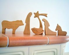 A special 6-PIECE wood nativity set which joins tradition and modern minimalist design - simple nativity silhouette. The wood nativity is crafted of gentle and bright BEECH WOOD. Nativity figures are skillfully cut, precise sanding gives them satin smooth surface and rounded edges. All figures are stable and can form nativity scene according to your taste and wishes. The crib rocks and Baby Jesus can be taken out of it. The 3D treatment of every figure gives each character even more life…