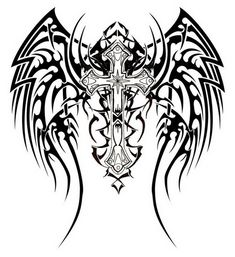 Tribal Cross Tattoos Designs with Wing Distinctive Tribal Cross Tattoos