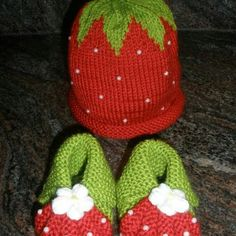 "baby hat and booties  ""Strawberry ""set Handmade knitted baby hat and booties "" Strawberry "" set Other"