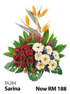 Arrangement of 10 red roses & 7 pink daisies.