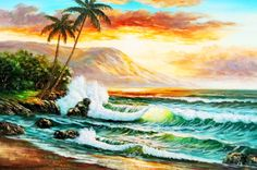 See related links to what you are looking for. Picture Places, Picture Wall, Ocean Pictures, Hawaiian Art, Ocean Art, Artist Painting, Watercolor Paintings, Landscape Art, Cool Artwork