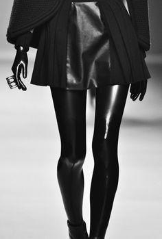 Leather skirt, black latex leggings