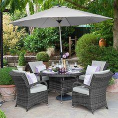 Maze Rattan Outdoor Garden Furniture Texas 4 Seat 1.2m Round Table Grey Rattan Dining Set: Amazon.co.uk: Garden & Outdoors