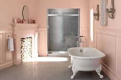 Iron Works Historic bath Antique floor-mount bath faucet Fresh, romantic, intimate: A pink-hued bathroom's mood changes with the light. French Bathroom, Bathroom Kids, Cast Iron Bath, Clawfoot Bathtub, Bathroom Inspiration, House Design, Home, Benjamin Moore, Fruit