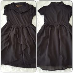 Princess Very Wang dress Sporty yet flirty dress by Very Wang. Soft polo styled top, lace collar. Overlapping  silk chiffon skirt with beautiful layer of lace peek-a-boo at the front. Like new. Vera Wang Dresses