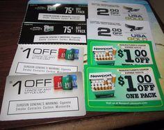8 Cigarette Coupons Total savings= $9.50