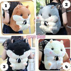 4 Colors Kawaii Hamster Plush Backpack SP164963