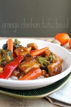 Orange Chicken Tofu Bowl - Everyone loves Orange Chicken, right? How about turning it into a vegetarian version with the same flavors?! www.happyfoodhealthylife.com #vegetarian #dinner #meatlessmonday