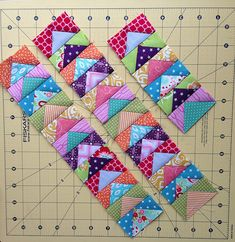 Quilty Fun Flying Geese in bright colors by QuiltyReese