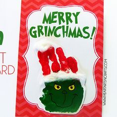 Merry Grinchmas Christmas card printable on the blog, just add an adorable handprint grinch! Jace loved making these!