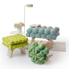 Sashes and textiles enchant the likes of simple wooden stools as beautiful Zieharsofika. German designer Meike Harde