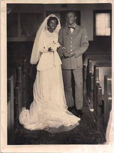 Vintage African American Photo Wedding Picture Bride Groom Military Man   eBay