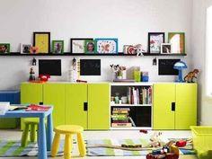 Kitchen-style cabinets make for vertical storage that kids can still reach.