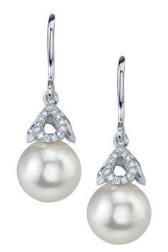 14K White Gold 8mm White Freshwater Cultured Pearl & Diamond Capped Earrings