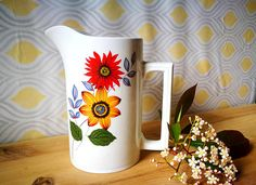 English china jug, Mid century vintage vase, Wood and Sons pitcher, China Ewer, Shabby chic jug, Pretty vintage jug vintage ceramic jug