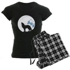 Howl of the Wolf Women's Dark Pajamas featuring a lone wolf howling beneath the bright full moon. #wolf #moon #howl #dreamessence #pajamas