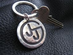 Ranch Brand Cattle Brand Keychain in Hand Hammered by jennybuttons