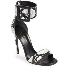 Saint Laurent Jane Snakeskin Exotic Sandals ($446) ❤ liked on Polyvore featuring shoes, sandals, apparel & accessories, black, kohl shoes, cushioned shoes, snakeskin shoes, black sandals and padded sandals