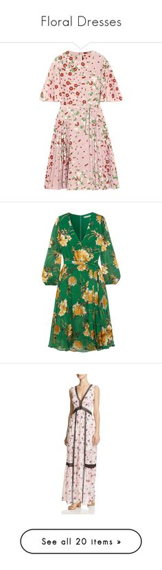 """Floral Dresses"" by li-lac7 on Polyvore featuring dresses, haljine, vestidos, pink, silk floral dress, floral dresses, tie waist dress, floral pleated dress, silk dress и green chiffon dress"