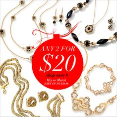 Mix and match jewelry 2 for $20 and makeup is up to 60% off.  Great stocking stuffers! www.youravon.com/klanier