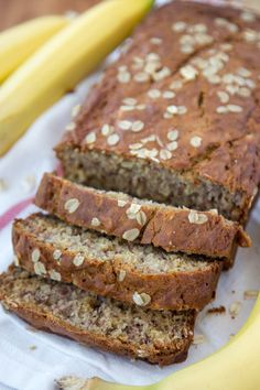 Vanilla Oatmeal Banana Bread - Made lighter with Greek Yogurt and less sugar. Perfect for an after school snack, quick breakfast or even as muffins!