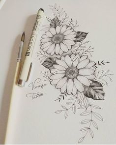 Conheça os incríveis trabalhos da especialista em tatuagens com… Get to know the incredible works of expert in tattoos with fine and delicate stroke 🏠Find in the studio Carlos Alberto Lopez Macedo… Pencil Art Drawings, Art Drawings Sketches, Tattoo Sketches, Tattoo Drawings, Pencil Sketch Drawing, Calavera Tattoo, Simple Flower Drawing, Floral Drawing, Daisy Drawing