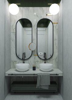 Very Mad Men-Esque Midcentury Mirrors - Skrental Master Suite Bathroom, Ada Bathroom, Blue Bathroom Decor, Steam Showers Bathroom, Bathroom Toilets, Bathroom Fixtures, Modern Bathroom, Restroom Design, Bathroom Interior Design