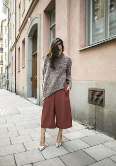 These rust culottes and knitted top make a super trans seasonal outfit...