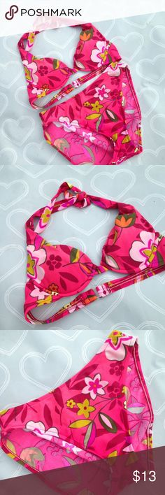 Victoria's Secret swimsuit bikini size small Brand- Victoria's Secret-- women's two piece bikini swimsuit size small- EUC-- top is a size 32/B but can fit a b or a c-- Light padding and underwear for push up-- High waisted bottoms size small- hot pink floral- I love this swimsuit but I have so many- Victoria's Secret Swim Bikinis
