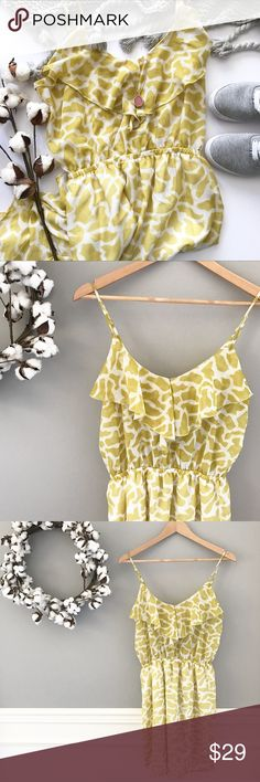 "🆕 Golden Giraffe Print Ruffle Dress Yellow always makes you stand out from the crowd! Lightweight, effortless, and comfortable, this dress features an elastic band at the waist & across the back as well as adjustable straps. The dress has a lined skirt but not the top portion, although the ruffle + elastic will completely keep your bra from showing. Size M but since so many pieces are elastic / adjustable,it could probably fit a S or a smaller L! Approx 31"" long but the straps can make it…"