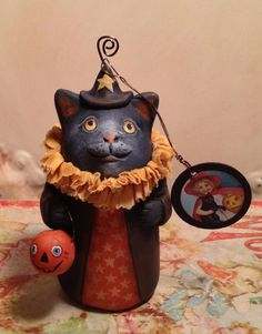 Folk Art One of a Kind cat Witch Ornament Vintage Style Art Original Primitive