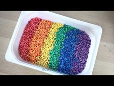 Looking for ways on how to dye rice and/or beans for sensory play? This one using beans and is a fun way to use in small world pretend play at home for kids New Years Activities, Art Activities For Kids, Montessori Activities, Preschool Art, Toddler Activities, Educational Activities, Sensory Boxes, Sensory Play, Dino Eggs