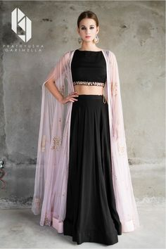 bisouNYC - Pink Cape and Black Crop Top with Lehenga