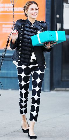 Olivia Palermo's 43 Best Looks Ever - Military-Inspired Jacket and Banana Republic Marimekko Collection Pants from #InStyle