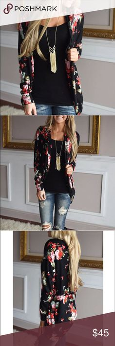 {The Lauren} Festive Floral Cardigan  {The Lauren} Floral Cardigan  Beautiful Black + red floral print. Soft + Cozy Poly blendSizes Available: Small or Medium Please ask questions prior to purchaseI am happy to help!  Sweaters Cardigans