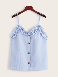 To find out about the Frill Trim Button Front Striped Cami Top at SHEIN, part of our latest Tank Tops & Camis ready to shop online today! Cute Comfy Outfits, Casual Outfits, Fashion Outfits, Striped Cami Tops, Tank Top Shirt, Tank Tops, Pli, Neue Trends, Blouse Designs