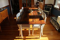 Reclaimed Barn Wood Harvest Parson Spindle Sawbuck Wood Base X Dining Table + Furniture Kitchener Toronto Guelph Hamilton