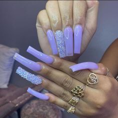 Long Square Acrylic Nails, Purple Acrylic Nails, Best Acrylic Nails, Purple Nails, Bling Nails, Swag Nails, Square Nails, Dope Nail Designs, Cute Acrylic Nail Designs