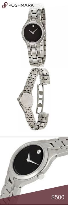 NWT, Movado Stainless Steel Ladies Watch! Ladies Movado watch model 0606368. Brand new in box with all paperwork included. 100% Authentic.  FEATURES: TWO HAND CASE Round. Polished and Brushed Stainless Steel, WIDTH:26 mm without crown, CASE LENGTH WITH LUGS:30 mm, WATER RESISTANCE.CRYSTAL:Sapphire Crystal Scratch Resistant, THICKNESS:5 mm, CASE BACK:Snap Back Closed. COLOR:Black, Silver Tone Hands, Movado Signature Dot Silver Tone. TYPE:Swiss Quartz (Battery-Powered). WIDTH:14 mm. LENGTH:7…