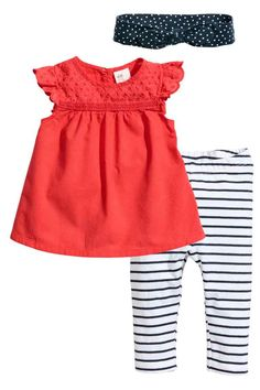 Three-piece cotton set - Coral red - Kids | H&M CA 1