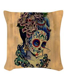 Tan & Blue Sugar Skull Woman Throw Pillow #zulilyfinds