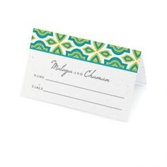 Plantable Indian Design Place Card - Several Colors