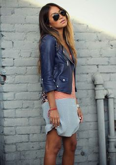 Leather jacket over vintage style dress