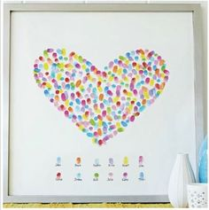 Valentine's Day Decor Idea: Fingerprint Heart Art - {Not Quite diy canvas craft ideas - DIY Craft Ideas Diy Gifts For Kids, Easy Diy Gifts, Crafts To Make And Sell, Gifts For Family, Kids Diy, Craft Gifts, Valentines Gifts For Boyfriend, Boyfriend Gifts, Boyfriend Ideas